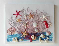 Collage 3D mondo sottomarino, collage unico conchiglie e stelle marine, tela decorata ramo corallo e conchiglie, decorazione casa mare