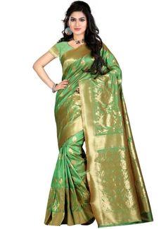 Green Kanjivarm Banarasi Silk Hand Wiving Designer Saree http://www.angelnx.com/Sarees/Designer-Sarees