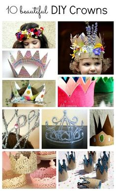 10 DIY crowns and tiaras ~ perfect for queen or princess Halloween costumes or birthday party