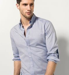 SLIM FIT SKY BLUE SHIRT WITH ELBOW PATCHES