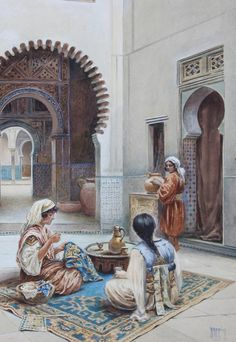 Courtyard of a Moorish House-by-Vittorio-Rappini