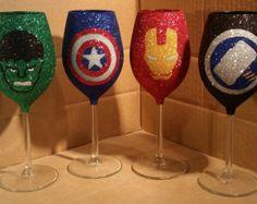 The Avengers glitter wine glasses - Edit Listing - Etsy