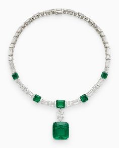 H.S.H. Gabriela Princess Zu Leiningen's magnificent Colombian emerald and diamond necklace, by Cartier. The detachable cushion-shaped emerald pendant, weighing approximately 39.70 carats.