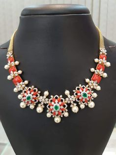 Gold Earrings Designs, Gold Jewellery Design, Bead Jewellery, Necklace Designs, Beaded Jewelry, Fancy Jewellery, Temple Jewellery, Diamond Jewellery, Coral Jewelry