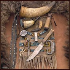 nessmuk: Shooting Bag and accoutrements…. - old school survival. Native American History, Native American Indians, Larp, Elf Rogue, Mountain Man Rendezvous, Shooting Bags, Black Powder Guns, Man Gear, Primitive Survival