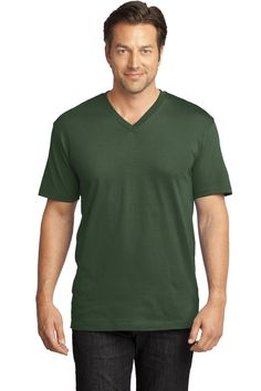 District Made Mens Perfect Weight V-Neck Tee DT1170 Thyme Green 391 Anvil  Ladies  Sheer Scoop-Neck Tee. Shirts ... e598fa574