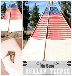 #patriotic #nosew #burlap TeePee project! This only takes a few supplies and is about 10-12ft tall!