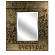 """Carolyn Kinder         Dimensions:(40""""h x 34""""w x 1.5"""")        Description:The artful graphic pattern on the Reminder mirror is hand stenciled and antiqued over a silver leaf background on a wide, flat frame."""