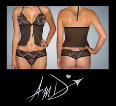 Sexy NFL Chicago Bears custom made to fit scallop lace camisole lingerie top with matching scallop lace G string set. $37.99, via Etsy.