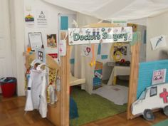 Let's pretend we are doctors, nurses and patients Nursery Bucharest Dramatic Play Themes, Dramatic Play Area, Play Corner, Corner House, Kids Play Centre, Doctor For Kids, Role Play Areas, Reggio Classroom, Playroom Art