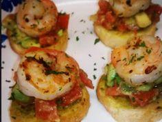 Shrimp Avocado Bruschetta Appetizer