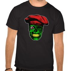 Zombie Chef Skull v2 T-shirt Green, one-eyed zombie skull with yellow teeth, wearing puffy chef hat.