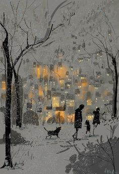 Pascal Campion Gloom and glow in winter. I absolutely love the hygge feel in those cosy lights : Pascal Campion Gloom and glow in winter. I absolutely love the hygge feel in those cosy lights Art Et Illustration, Art Illustrations, Winter Art, Winter Snow, Whimsical Art, Painting & Drawing, Matte Painting, Drawing Tips, Amazing Art