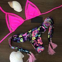 Sexy flounced print bikini