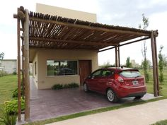 Puerto Roldán - Lote 390 by Erb Santiago Plans Architecture, Sustainable Architecture, Outdoor Pergola, Cheap Pergola, Modern Tiny House, Modern House Design, Modern Houses, Building A Pergola, Pergola Attached To House
