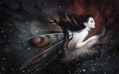 "Beautiful new digital painting by Mélanie Delon, ""Snowfall"""