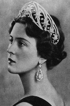 Grand Duchess Cecilie of Hesse, nee Princess of Greece and Denmark, wife of Grand Duke Georg Donatus, sister of the present Duke of Edinburgh, wearing the Hesse star tiara.