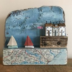 Sailing home, wall plaque. Vintage map driftwood