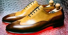 Stylish shoes for man: handpainted oxford model shoe in dark brown and ocher-Franceschetti
