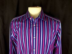 e3dd1f19935f6 New Duchamp 16 5 Large Long Sleeve Striped Dress Shirt Red Blue Gray Cotton    eBay