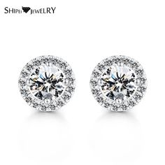 Brand Jewelry!SHIPEI 2017 Stud Earrings in Plated White Gold with AAA Round Brilliant Imitation Diamond,Carat Total Weight 1.30