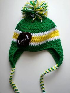 Team Spirit Green and Gold Baby Earflap Hat by CozyAndClassyByKaty, $20.00