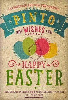 Happy Easter to every one, and thanks to Georg Herold-Wildfellner who sent us this card using his brand new font called The Pinto Font . . . Bravo, George