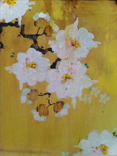 Sunday in the studio: (detail) white blossoms on faded yellow. Kathe Fraga paintings, inspired by vintage Paris and Chinoserie Ancienne. www.kathefraga.com
