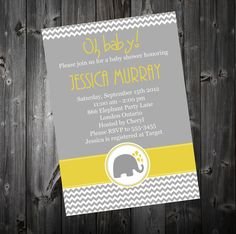 Baby Shower Invitation - Chevron & Elephants