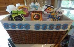 A date night basket wedding gift with gift cards in each little bag!
