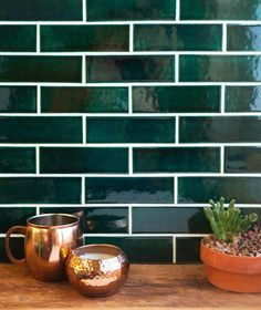 Green tile and copper accents are a match made in heaven. Head over to the blog to see 3 gorgeous kitchens that use the dynamic duo and learn how you can get the look! Link in bio