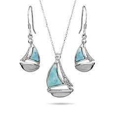 Sterling Silver Larimar and CZ Sailboat Earrings and Necklace Set Eve's Addiction http://www.amazon.com/dp/B009TI1PJY/ref=cm_sw_r_pi_dp_kCc4ub1G0YQVV