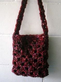Crochet Bag Small Multi Red and Purple Shoulder bag by Kezylou