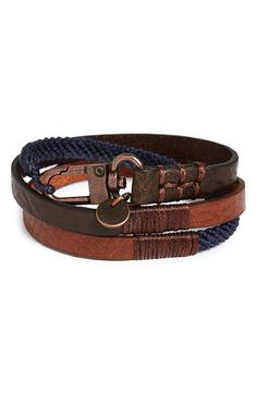 Caputo & Co. Leather Wrap Bracelet