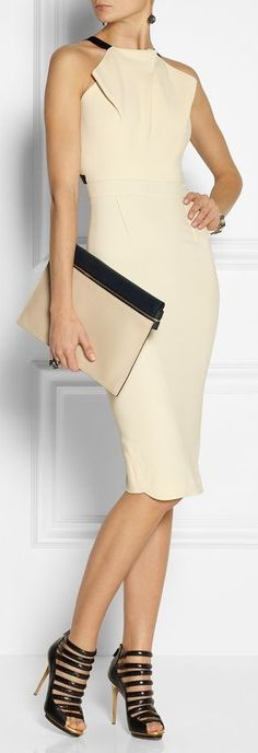 Roland Mouret- love everything,  dress, shoes, bag, accessories, makeup and hair!