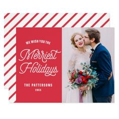 Red The Merriest Holidays Typography Photo Card - invitations custom unique diy personalize occasions
