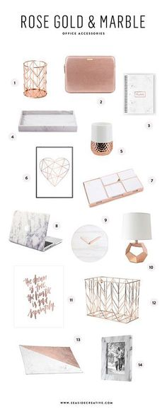 Rose Gold and Marble Interior Office Decor