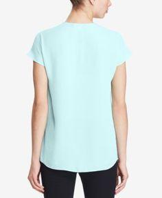 Lauren Ralph Lauren Petite Georgette Short-Sleeve Shirt - Light Aquamarine P/S