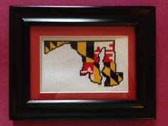 Maryland State Flag and Outline Completed by StitchosaurusJess, $45.00
