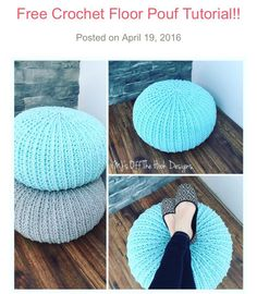 FREE Pouf Pattern --- perfect home decor http://www.mjsoffthehookdesigns.com/free-crochet-floor-pouf-tutorial/