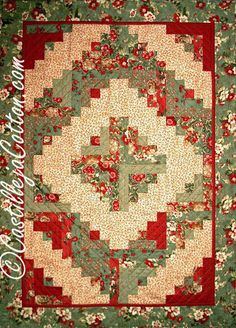 Christmas Log Cabin Lap Quilt or Wall Hanging by castillejacotton, $125.00