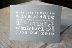 Vintage Gray and White Save the Date Postcard. $2.00, via Etsy.