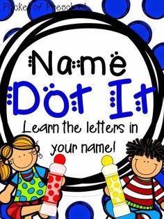 Pocket of Preschool: Peek at my Week 7 and Name Dot It Kindergarten Names, Preschool Names, Preschool Letters, Letter Activities, Preschool Curriculum, Preschool Lessons, Learning Letters, Preschool Classroom, Preschool Learning