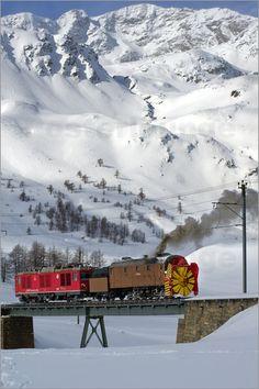 Steam snow blower-train on the Bernina Pass, Switzerland.