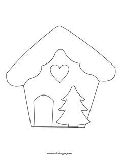 Gingerbread House, Tree and Heart Felt Christmas Decorations, Felt Christmas Ornaments, Christmas Colors, Christmas Art, Christmas Projects, Christmas Stockings, Christmas Stencils, Christmas Templates, Christmas Printables
