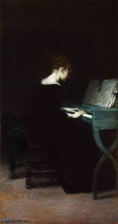 Painting of a young woman at the piano Ludwig von Herterich (German, Herterich is best known as a painter of portraits and history paintings and is a representative of the Munich School. He taught at the Kunstschule. Arte Obscura, Classical Art, Chiaroscuro, Art Plastique, Beautiful Paintings, Art Music, Dark Art, Female Art, Painting & Drawing