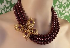 Wine and Butterflies Necklace by BearandtheHoneybee on Etsy, $49.00