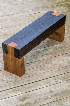 Modern rustic shou sugi ban timber bench for indoors Original and completely handmade by myself at RealSimpleWood Made from salvaged cedar timbers Seat top has shou sugi ban (charred wood) finish for unique texture with clear matte finish 47 long, Rustic Wood Bench, Rustic Furniture, Diy Furniture, Reclaimed Wood Benches, Furniture Removal, Antique Furniture, Cedar Bench, Handmade Wood Furniture, Concrete Furniture