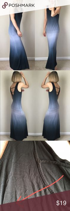 """Midnight sky maxi dress with low back. Defect pc Midnight sky maxi dress with low back. Made in USA. New retail. Has slight damage ; one punctured hold less than  0.1"""", just a tiny hold on the back. Only one spot defect. L: 55"""",bust :18"""" w: 15"""" stretchable . 95% rayon 5%spandex going for cheap! MADE IN USA KC Dresses Maxi"""
