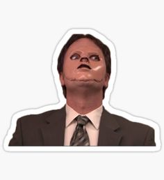 """""""Dwight Schrute CPR Mask Funny"""" Stickers by Chris Jackson The Office Cpr, The Office Merch, The Office Show, The Office Dwight, Meme Stickers, Snapchat Stickers, Tumblr Stickers, The Office Stickers, Laptop Stickers"""